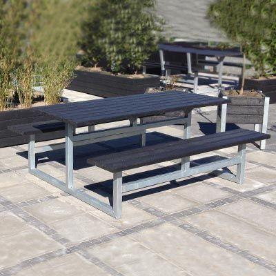 Vedligeholdelsesfrit bord bænkesæt uden ryglæn med plastplanker