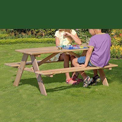 Børne bordbænkesæt uden ryglæn i lærketræ