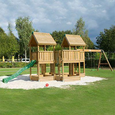 PRO-S7 legeplads med tårne, platform og rutsjebane