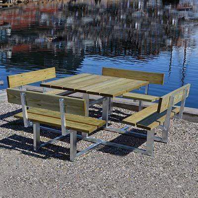 Bord-bænkesæt til 8 personer med ryglæn, stålstel og fyrretræ