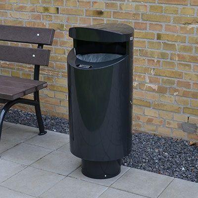 Udendørs affaldsbeholder på fod eller til væg eller søile