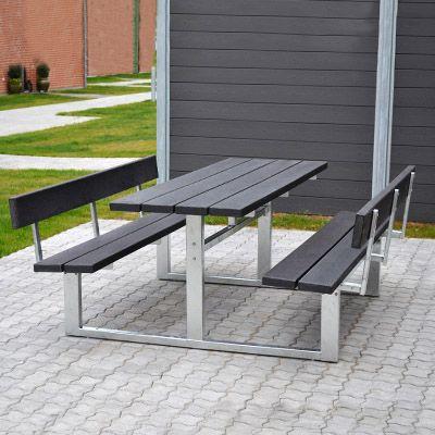 Vedligeholdelsesfri bordbænkesæt med ryg, stålstel og genbrugsplast