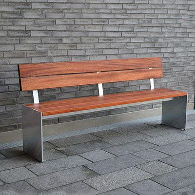 Udendørs bænk med mahogni eller vedligeholdelsesfri plastplanker