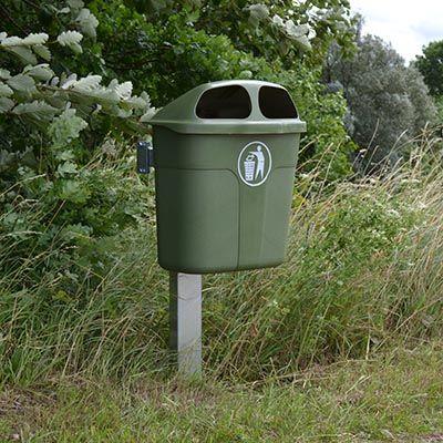 40 og 60 liter udendørs affaldsbeholder i grøn plast