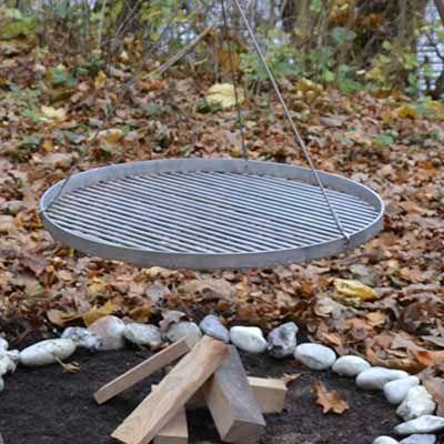 Rund bål og grillrist i diameter ø50, ø60, ø80 og ø100 cm i rustfri stål