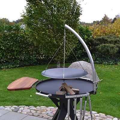 Solid Ø50 og ø60 cm wok med ben og ophæng til bål og grillplads