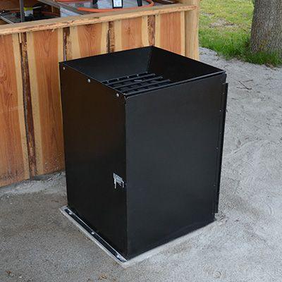 Solid affaldsbeholder i stål til grillkul og aske