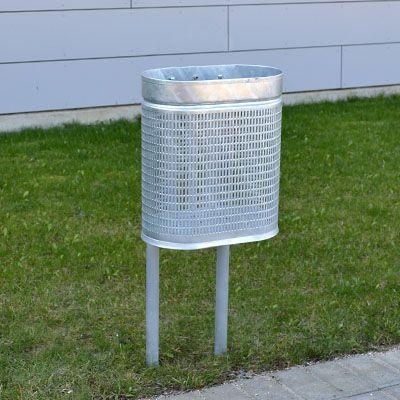 20 og 25 liter galvaniseret skraldespand på stander til nedstøbning