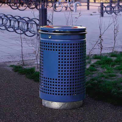 PRO rund udendørs galvaniseret affaldskurv med låg