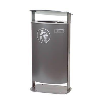 Udendørs affaldsbeholder med tag til nedstøbning eller påboltning