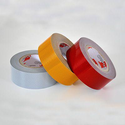 Selvklæbende refleksbånd i hvid, gul eller rød folie