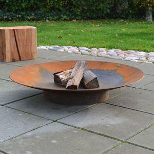 Bålsted i corten stål med ben og bålfad i ø60, ø80, ø100, ø120 cm
