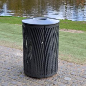 Vandalsikret affaldskurv med låg i galvaniseret stål til nedstøbning