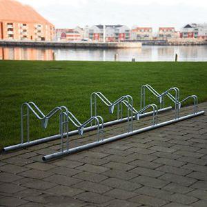 Høj-lav cykelstativ i galvaniseret stål til 4 eller 6 cykler